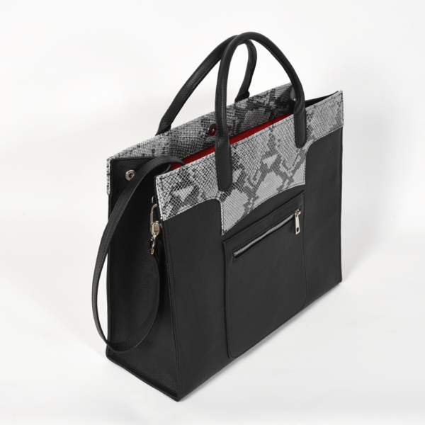 VM Queen Bag - Crna s imitacijom zmije