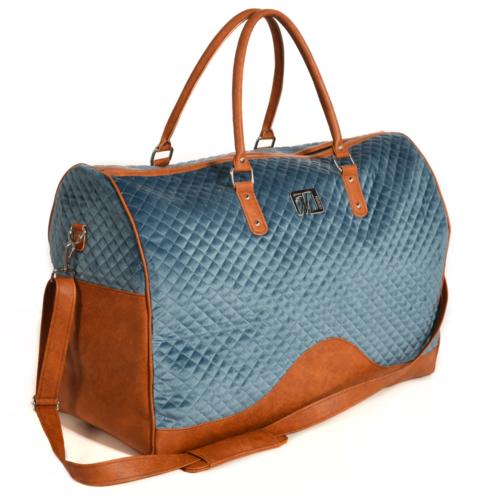 VM Luxury weekend travel bag torbica - Plava & konjak detalji eko kože