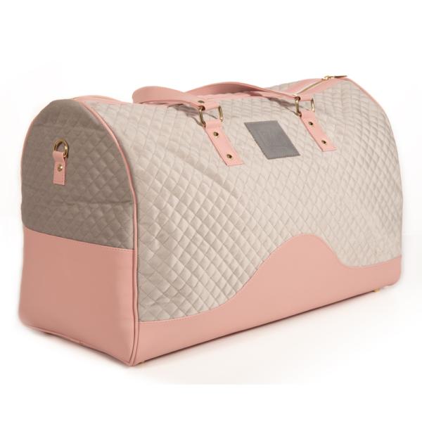 VM Luxury weekend travel bag torbica - Svijetla siva & roza detalji